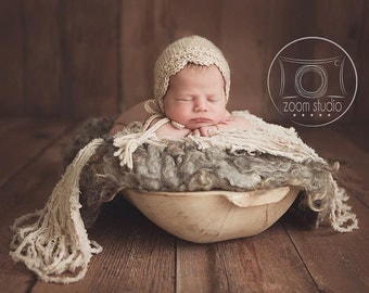 Baby handknitted bonnet, vintage lace, props