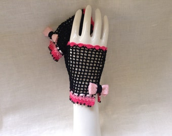 Gothic Pink and Black Steampunk Fingerless Gloves