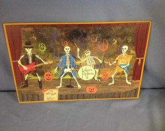 Mounted on hardboard print of an original Halloween themed painting