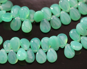 Chrysoprase Green Chalcedony Smooth Pear Briolettes, 9 - 10 mm, 6 beads GM0705SP/10/6