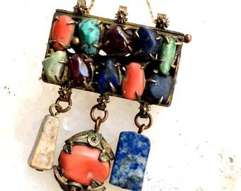 Antique Chinese Pendant, Coral, Lapis, Turquoise, Jade, Amethyst, Sodalite, Jasper Pendant Necklace