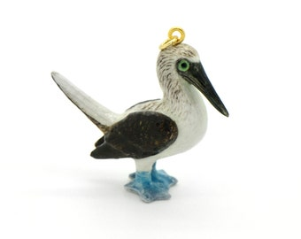 1 - Porcelain Blue Footed Booby Pendant Hand Painted Glaze Ceramic Animal Small Ceramic Bird Bead Jewelry Supplies (CA234)