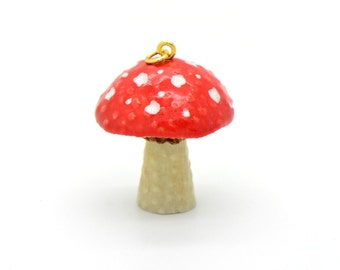 1 - Porcelain Mushroom Red Toadstool Pendant Hand Painted Glaze Ceramic Animal Small Ceramic Toadstool Bead Jewelry Supplies (CA214)