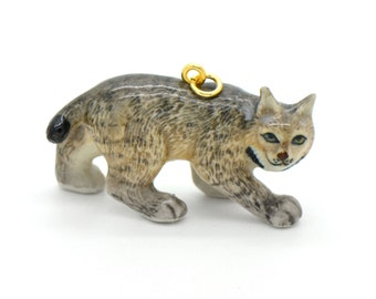 1 - Porcelain Lynx Pendant Hand Painted Glaze Ceramic Animal Small Ceramic Lynx Cat Bead Jewelry Supplies (CA228)