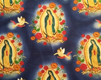 Robert Kaufman Fabric - Our Lady of Guadalupe - Virgin Mary - Cobalt Blue - Choose Your Cut 1/2 or Full Yard