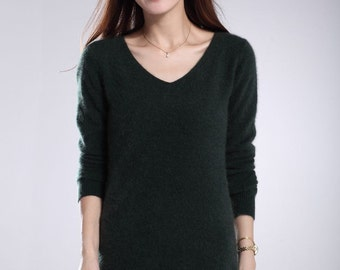 Customized Fashion Women Cashmere Sweater Spring Autumn Winter Knitted Wool Woman Pullovers Vneck Long