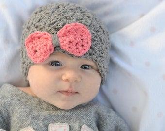 baby hat, crochet baby hat, newborn girl hat, gray baby hat, hat with bow, newborn girl, girls hat, Baby girls hat, crochet baby hat,