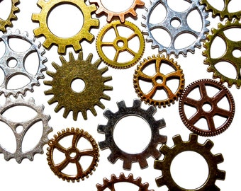 SUPPLY: Mixed Gear Beads - Steampunk Gears Charms - Antique Bronze, Antique Gold, Silver, Gold - (7-D2-1-00003420)