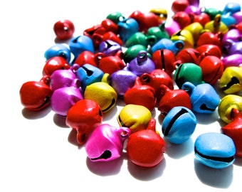 SUPPLY: 150 Small Colorful Iron Bell Charms - Mixed Color Bells - Decoration Bells - (7-F2-00003421)