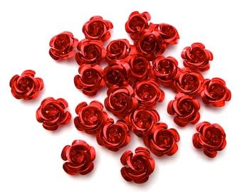 SUPPLY: 45 Red Aluminum Rose Cabochons - Fatback Roses - Crafts - Day of the Dead - Dia de los Muertos - SKU 8-D2-00003429