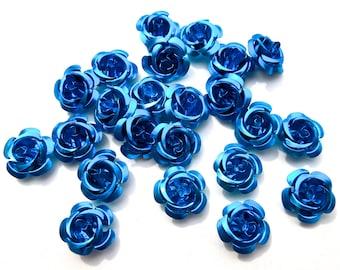 SUPPLY: 45 Blue Aluminum Rose Cabochons - Fatback Roses - Crafts - Day of the Dead - Dia de los Muertos - SKU 8-D2-00003435