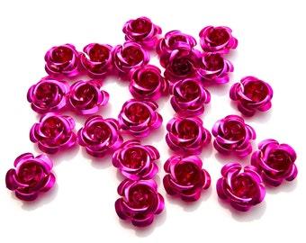 SUPPLY: 45 Pink Aluminum Rose Cabochons - Fatback Roses - Crafts - Day of the Dead - Dia de los Muertos - SKU 8-D1-00003437