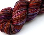 "Kettle Dyed Sock Yarn, Superwash Merino Fingering Weight, in ""Sea Anemone"""