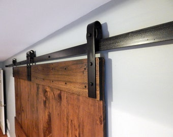 ATLANTA Sliding Barn Door Hardware - Black Classic Style Interior Barn Door Hardware - Single Door