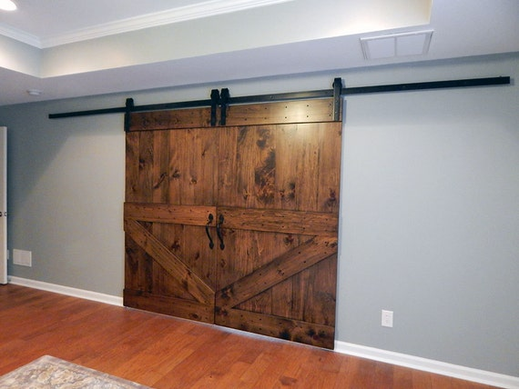 Atlanta Barn Door Hardware Black Classic Style Interior Sliding Barn Door Hardware Double