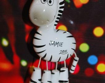 Personalized Zebra Christmas Ornament