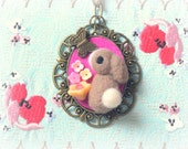 Handmade dark brown rabbit pendant necklace, needle felted bunny with butterfly necklace, lolita jewelry, whimsical jewelry, gift under 25