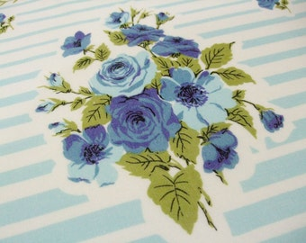 Mid CenturyTablecloth Blue Roses Aqua Stripes Green Leaves 60 X 54  Table Linens Cottage Chic Kitchen Decor Vintage Linens by TheSweetBasil