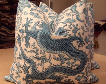 """Scalamandre Turquoise """"CHI'EN DRAGON"""" Chinoiserie Linen Print Custom Pillows Pair - French Linen Back - 20"""" Square - 3 Pairs Available"""