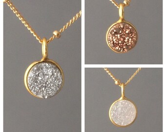TINY White, Gray, or Copper Druzy Circle Disc Stone Drusy Necklace Gold Silver