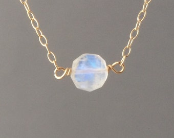White Circle Moonstone Necklace available in gold, rose gold, or silver