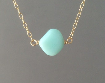 Blue Opal Stone Drop Necklace available in gold, rose gold, or silver