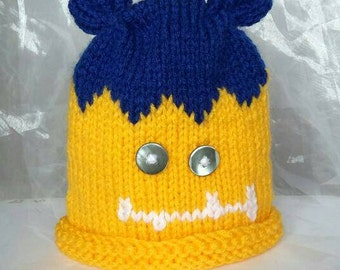 Blue and Yellow Monster Baby's Hat - Age 12-18 Months