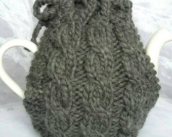 Cabled Charcoal Grey Teapot Cosy