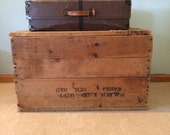 Antique Wood Shipping Crate Coffee Table End Table Storage Rustic Wood Box with Cover