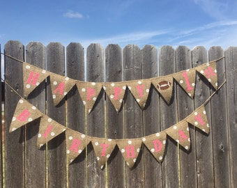 FIRST BIRTHDAY FOOTBALL Burlap Banner / Bunting / Decoration / Party Decor / Girl Football Party