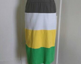 Women's Tiered T-shirt Skirt: Color Block Juniors Tee Shirt Skirt/ Upcycled Below Knee Tshirt Skirt