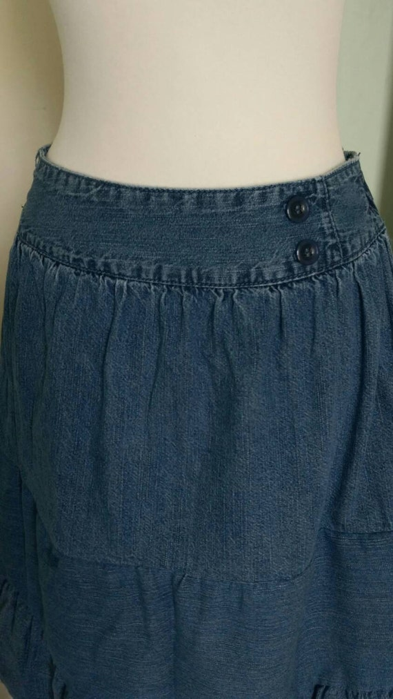 upcycled tiered denim skirt s junior s by