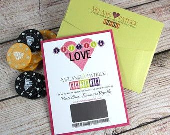 Save The Date, Scratch Off Invitations, Lottery Tickets, Wedding Invitations, Lucky in love