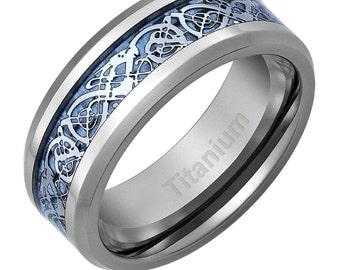 Men's Celtic Dragon Titanium Wedding Ring Engagement Band Blue 8 MM Comfort Fit