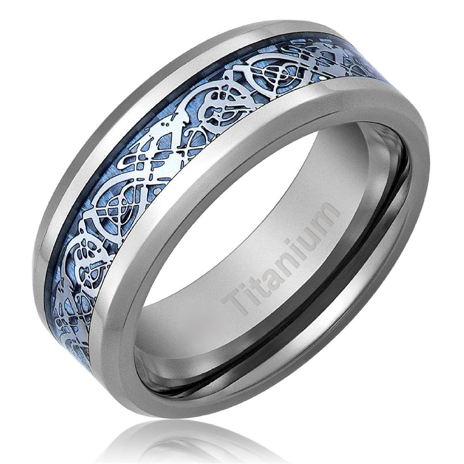 men 39 s celtic dragon titanium wedding ring engagement band. Black Bedroom Furniture Sets. Home Design Ideas