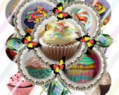 "Cupcakes 1"" Bottle Cap Image 4x6 Digital Collage Sheet Instant Download"