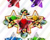 Rainbow Punk Glow Extra Jumbo Stars Images 4x6 Digital Collage Sheet Instant Download