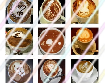 Coffee Art 1 inch Square Tile Images 4x6 Digital Collage Sheet Instant Download