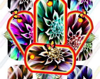 Flower Glow Dog Tags Images 4x6 Digital Collage Sheet Instant Download