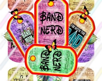 Band Dog Tags Images 4x6 Digital Collage Sheet Instant Download