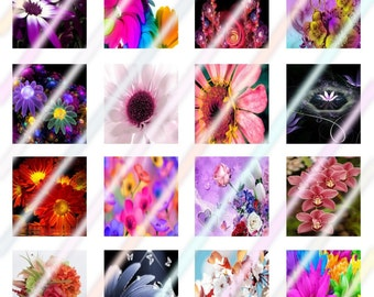 Bright Flowers Scrabble Tile Images 4x6 Digital Collage Sheet Instant Download