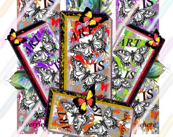 """Art Is Everywhere 1"""" x 2"""" Domino Images 4x6 Digital Collage Sheet  Instant Download"""