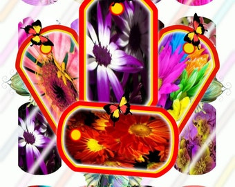 Bright Flowers Mini Dog Tag Images 4x6 Digital Collage Sheet Instant Download