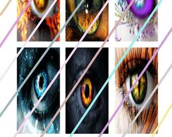 """Eyes 1"""" x 2"""" Domino Images 4x6 Digital Collage Sheet Instant Download"""
