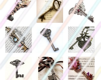 Keys 1 inch Square Tile Images 4x6 Digital Collage Sheet Instant Download