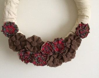 Burlap and Red Plaid Removable Wreath Attachment, Winter Wreath, Fall Wreath, Christmas Wreath, Thanksgiving Wreath