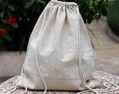 Drawstring backpack/ Drawstring bag/ gym bag ~ Little white flowers (B14)