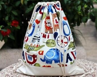Drawstring backpack/ Drawstring bag/ gym bag ~ Animal party (B19)