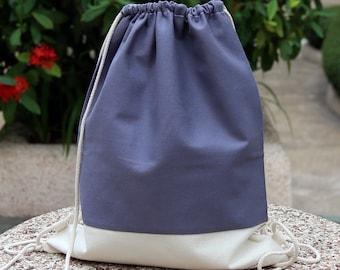 Drawstring backpack/ Cotton backpack/ Drawstring bag/ handmade backpack/ Gym bag/ Swim bag ~ Rainbow series (grey) (B12)