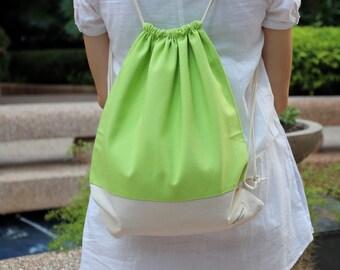 Drawstring backpack/ Drawstring bag/ gym bag ~ Rainbow series (light green) (B23)